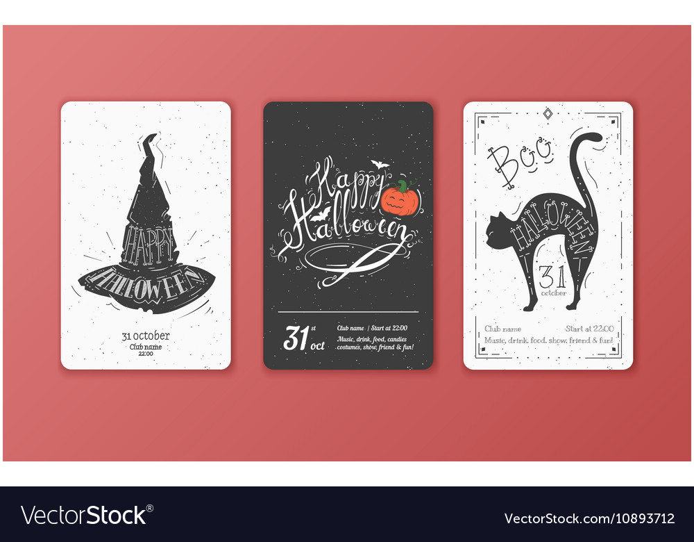 Set of black and white cards for Halloween