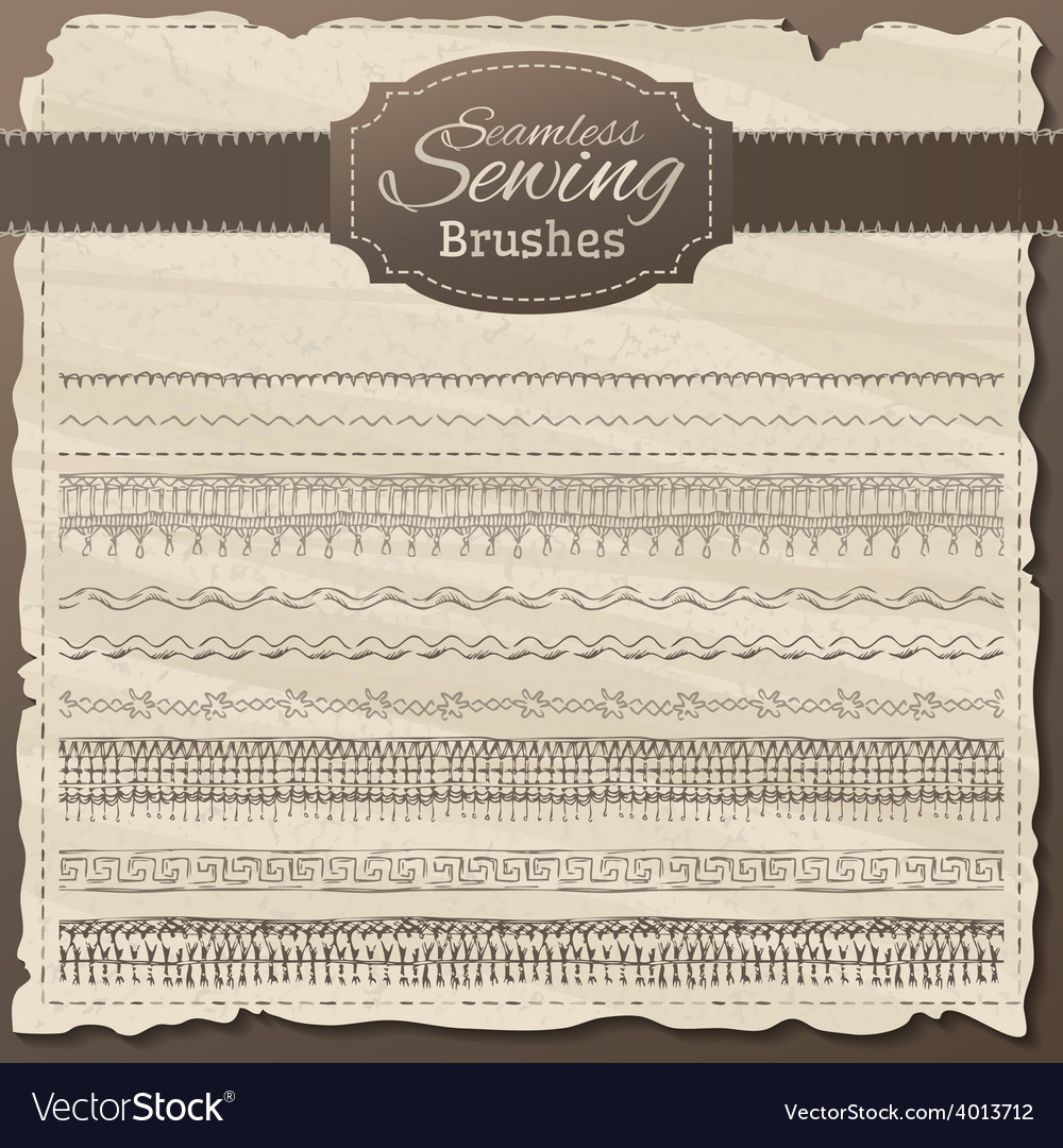 Set of seamless sewing borders