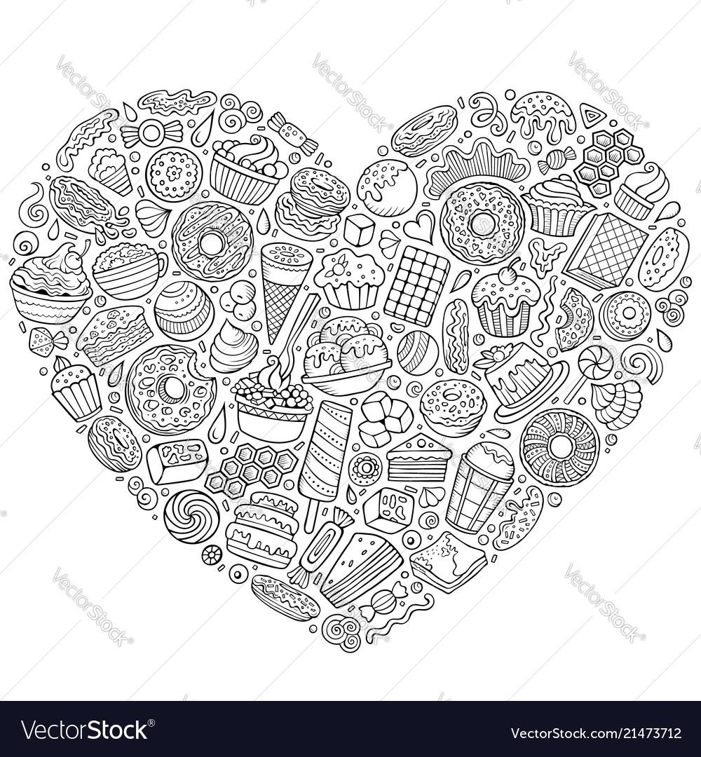 Set of sweet food cartoon doodle objects symbols