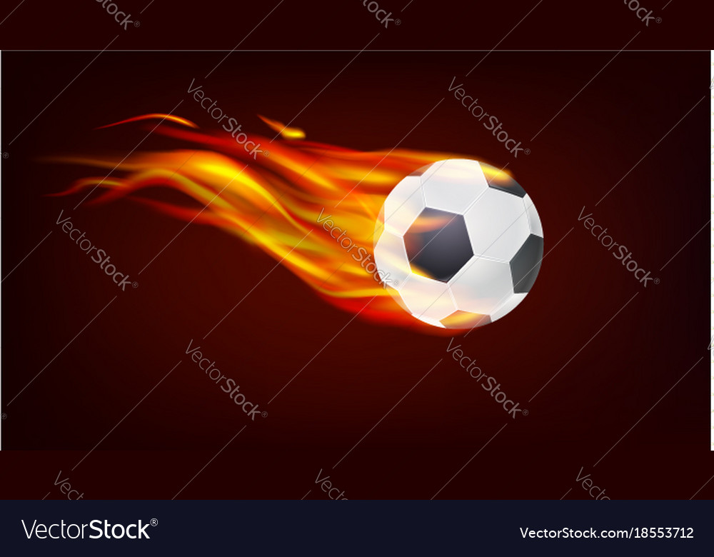 Soccer european football ball on fire resizable vector image