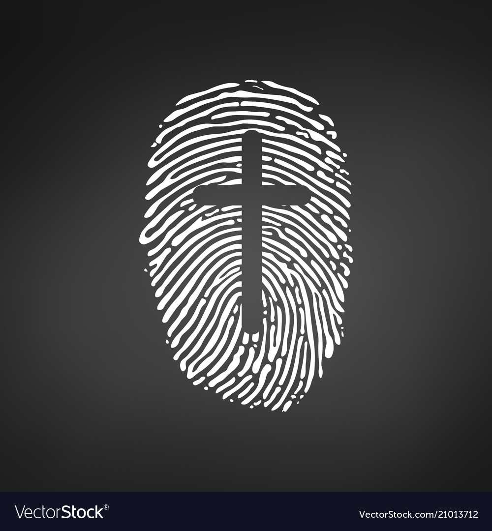 Thumb prints or fingerprint with cross showing
