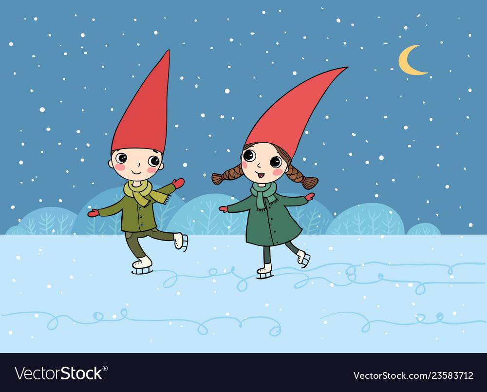 Ute cartoon gnomes christmas elves