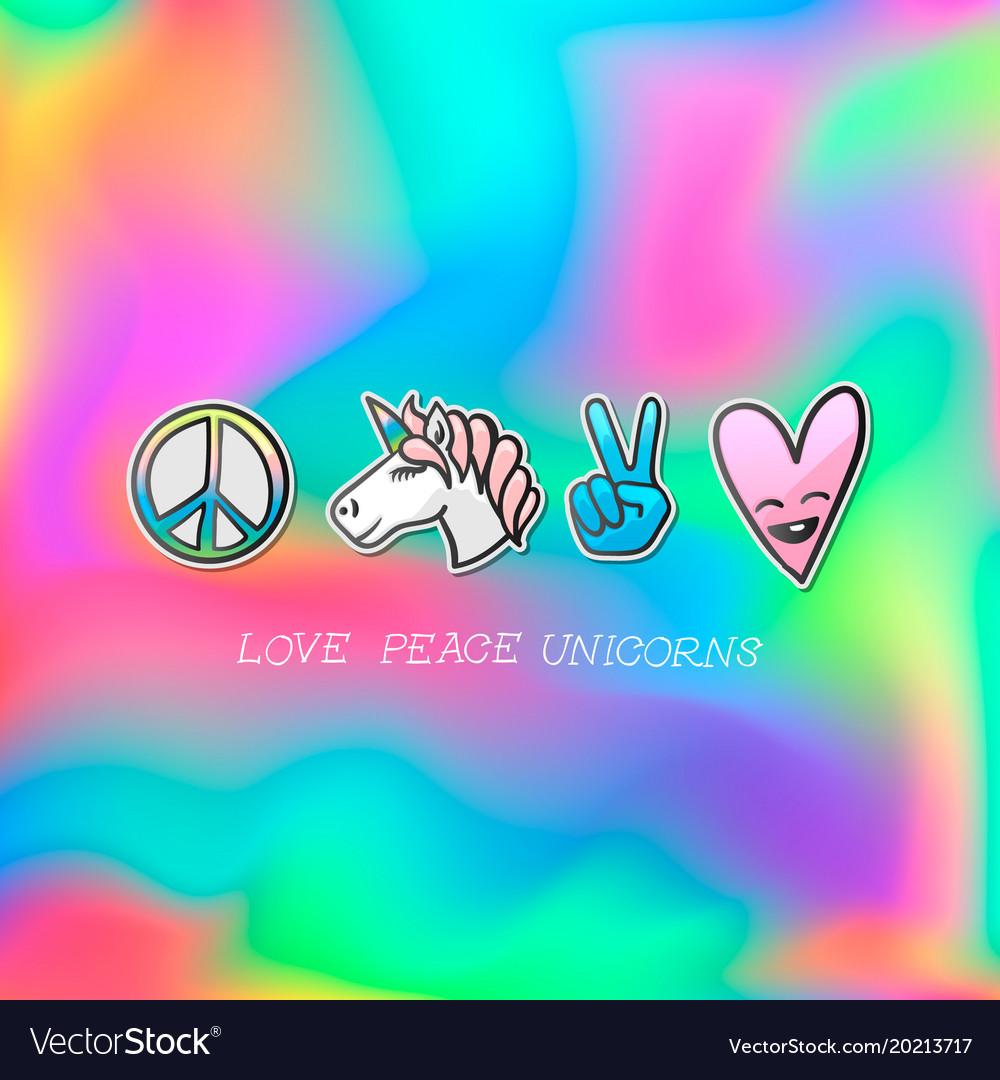 Cute patches badge love peace unicorns