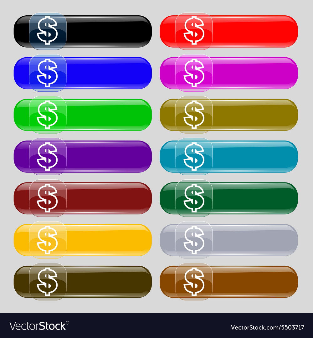Dollar icon sign Set from fourteen multi-colored