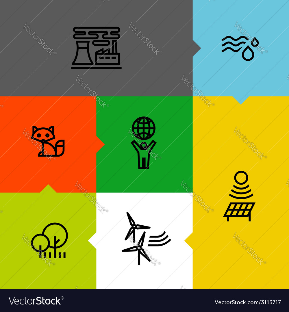 Ecology green environment line icons set