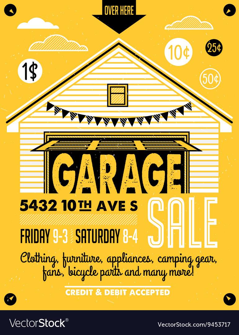 garage sale poster royalty free vector image vectorstock