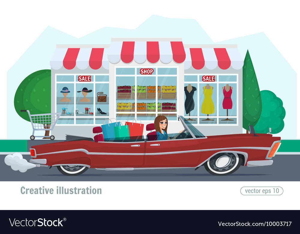 Girl rides on a red convertible with shopping car