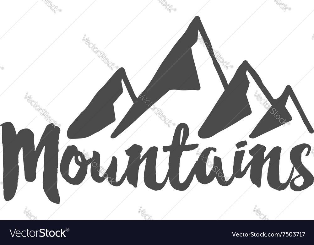 Hand drawn mountain badge Wilderness old style
