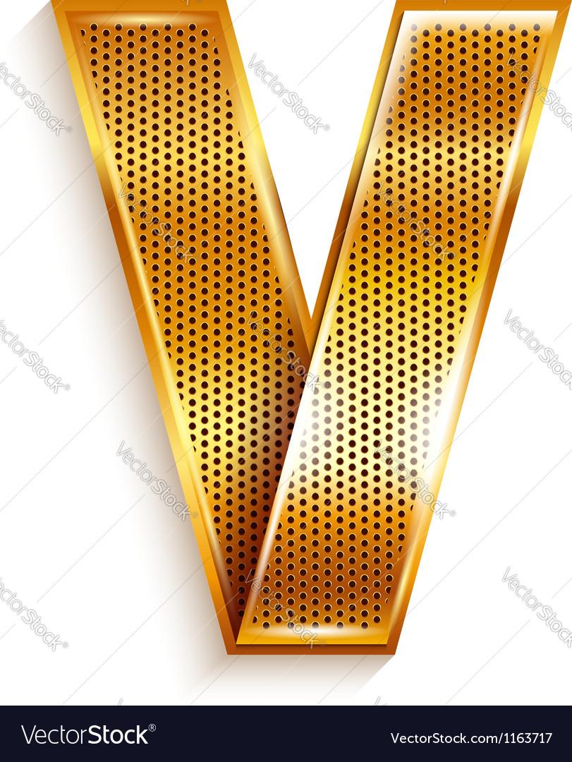 Letter metal gold ribbon - V