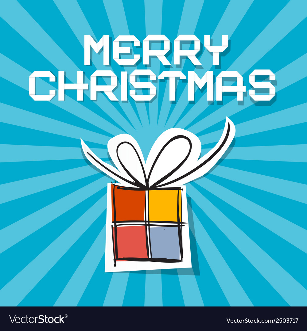 Merry Christmas - Paper Gift Box on Blue Ret