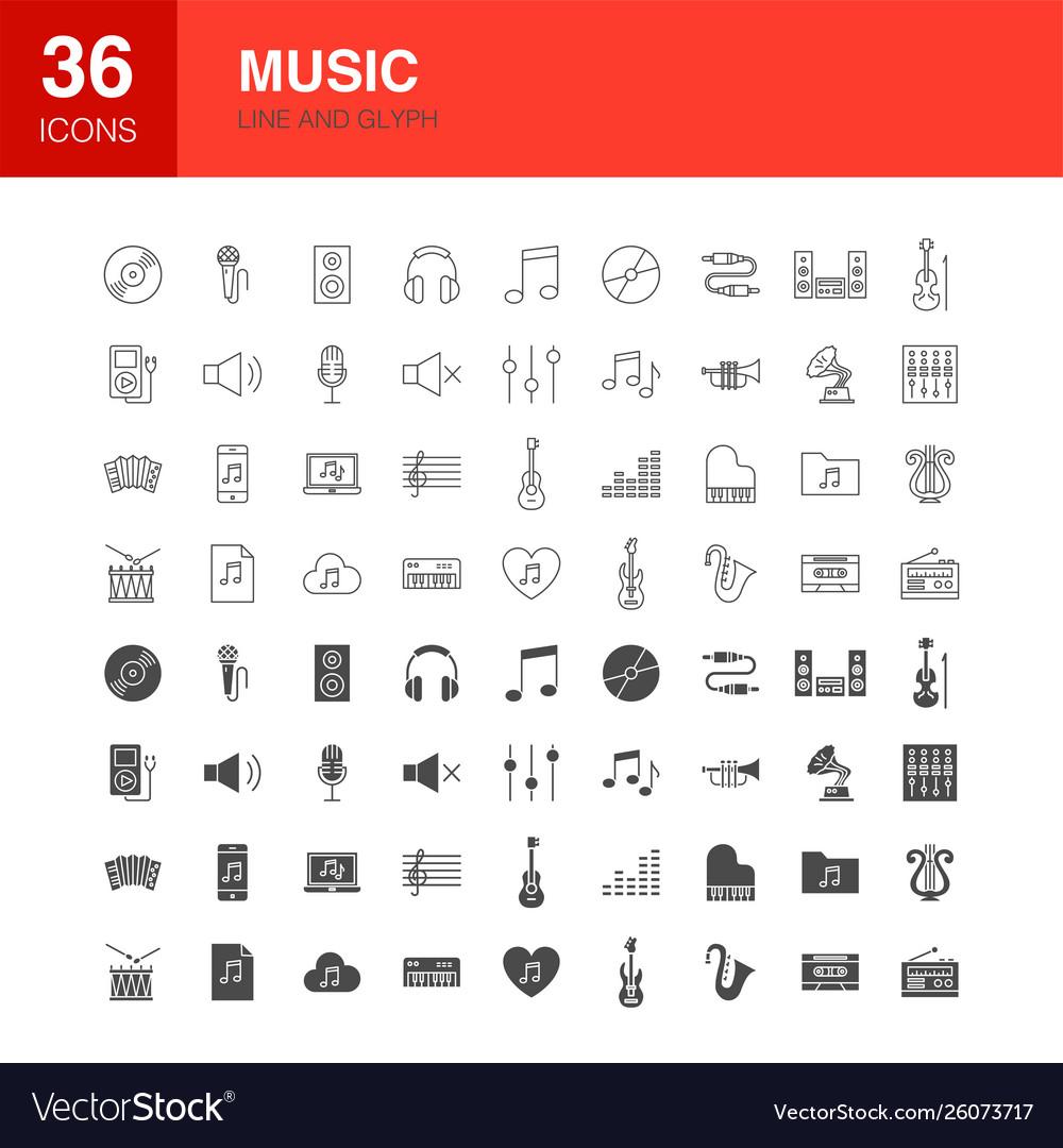 Music line web glyph icons