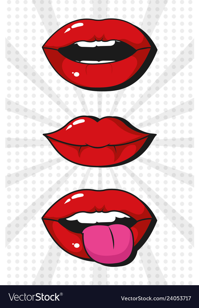 Pop Art Lips Cartoons Royalty Free Vector Image