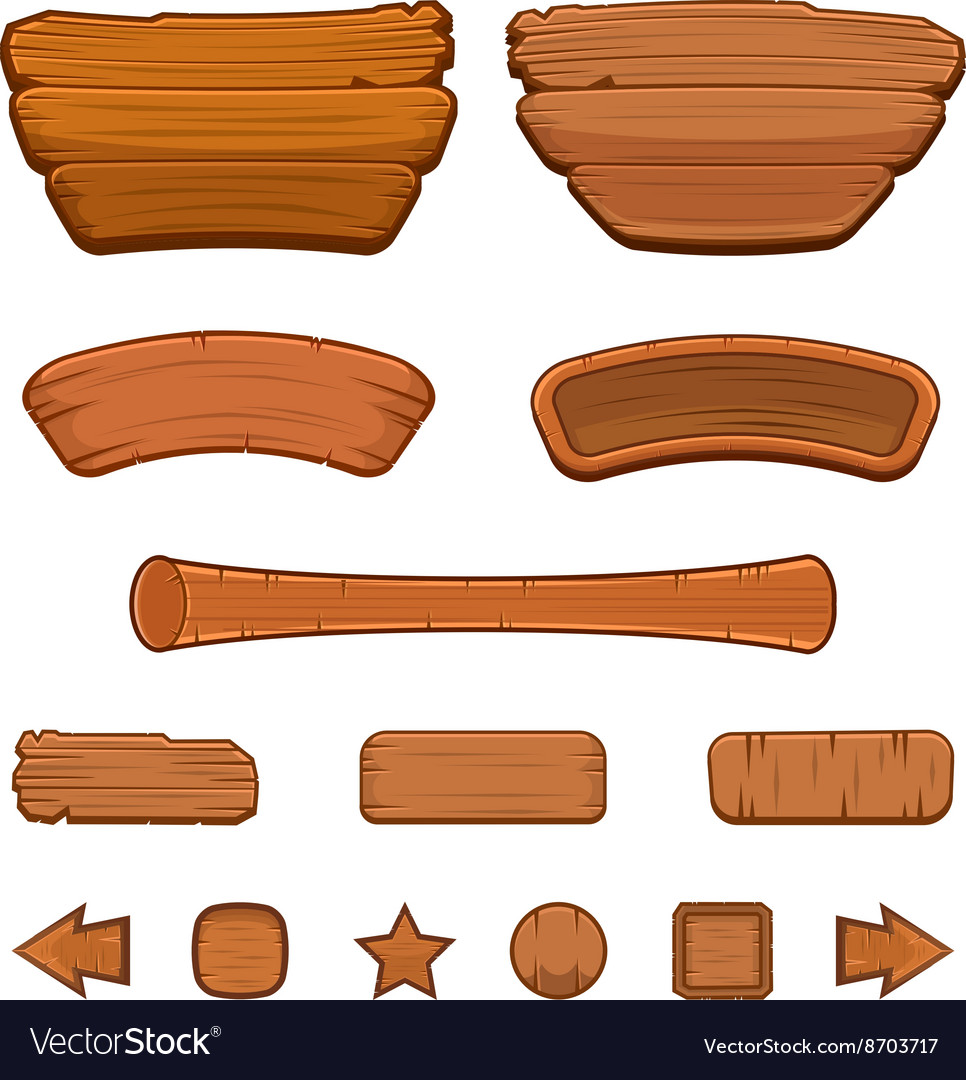 Set cartoon wooden buttons