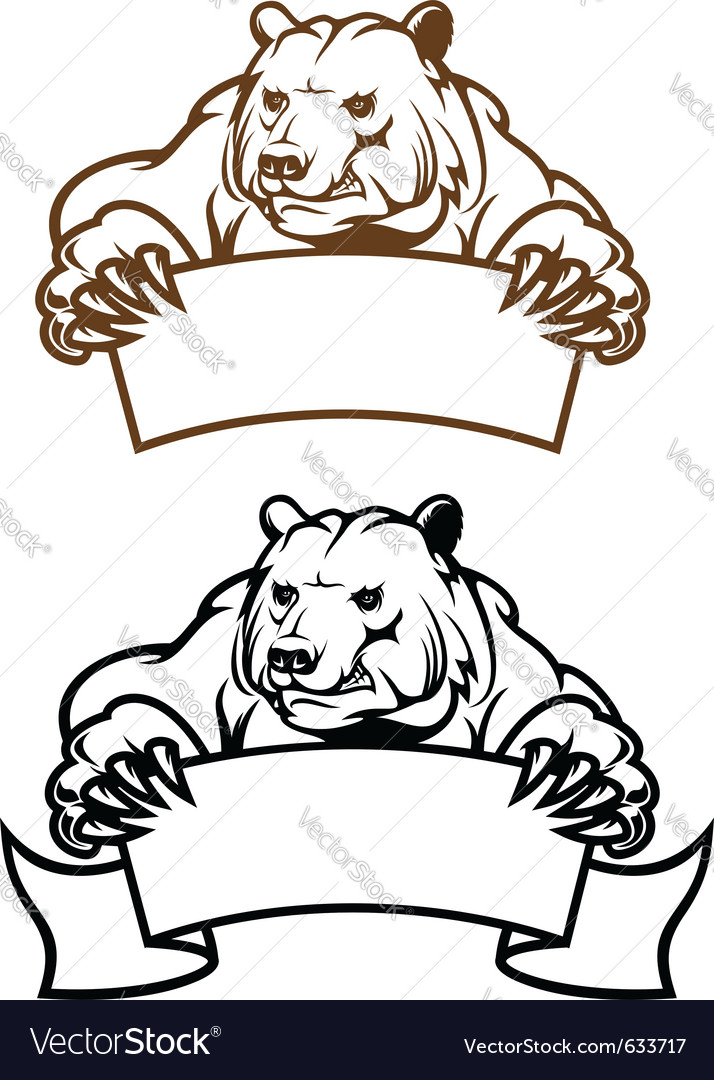 Wild kodiak bear with banner as a mascot isolated