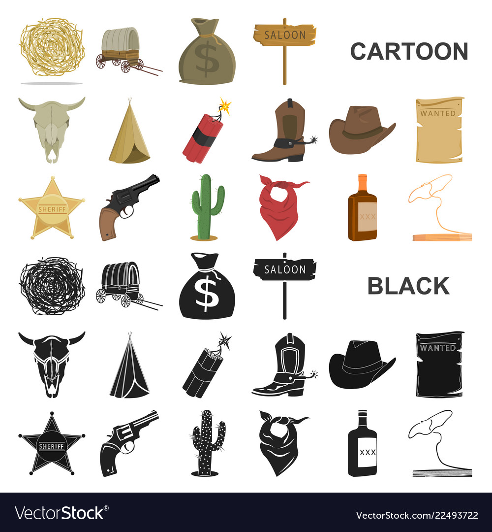 Attributes of the wild west cartoon icons in set