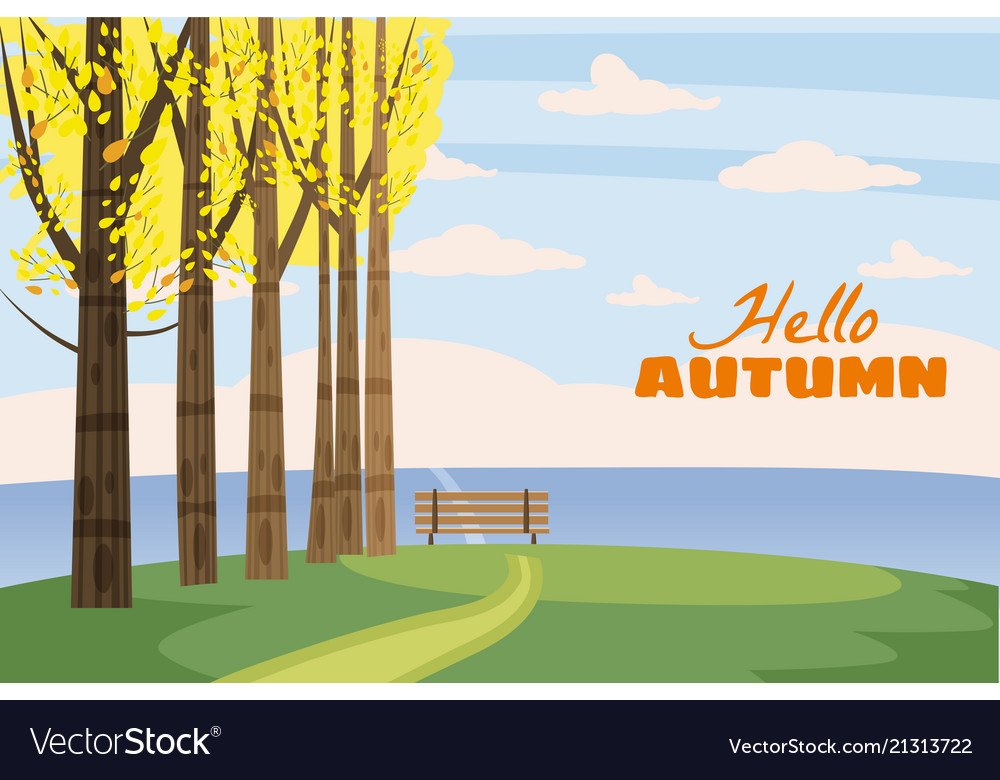 Autumn landscape trees with yellow leaves lonely