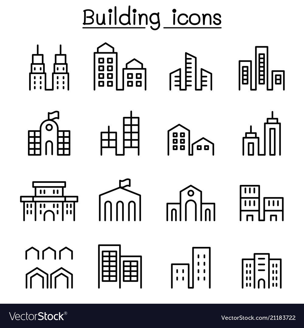 Building icon set in thin line style