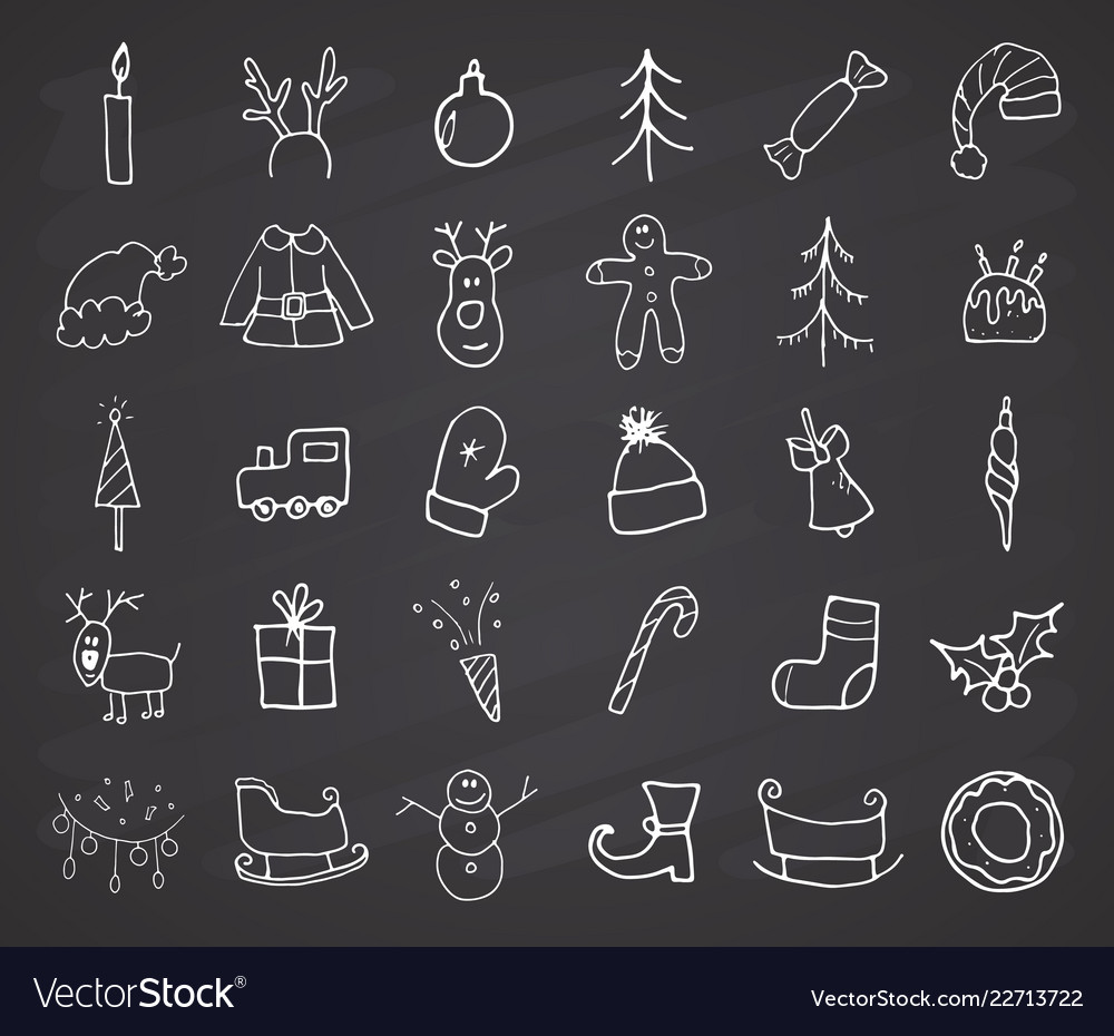 Christmas and new year icons hand drawn doodles
