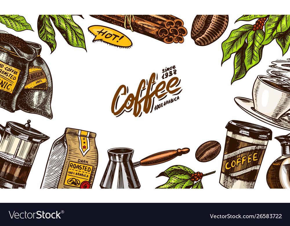 Coffee beans background in vintage style hand