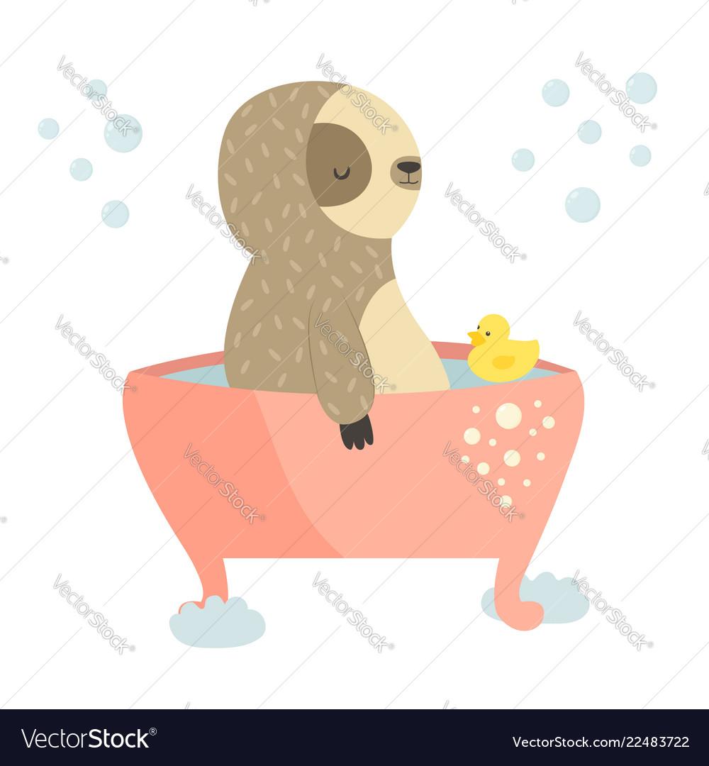 Cute sloth having a bath animal design