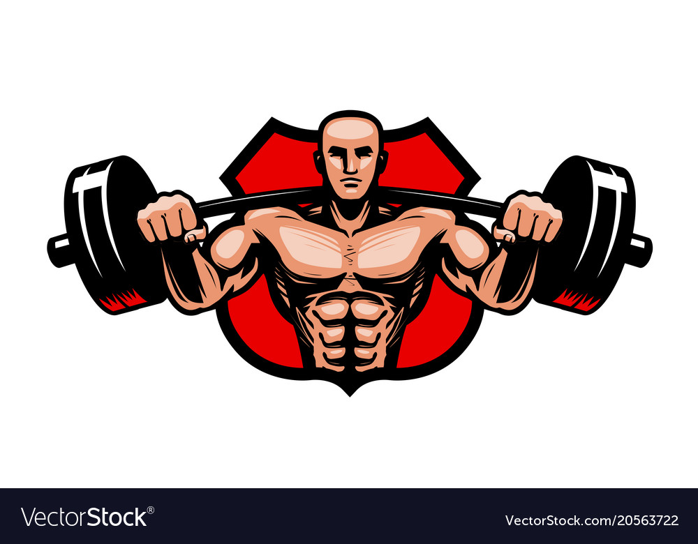 Gym bodybuilding sport logo or label