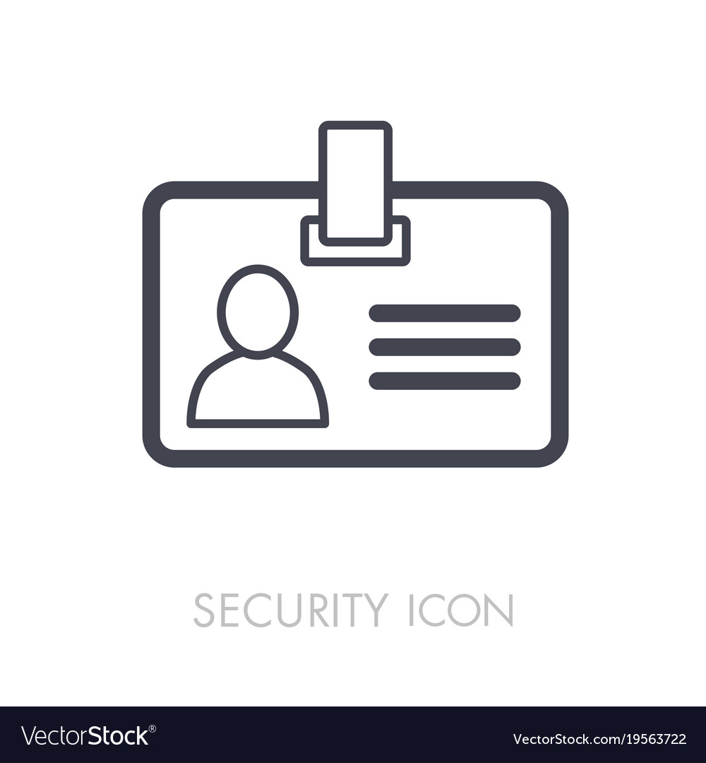 id badge line icon identification card royalty free vector
