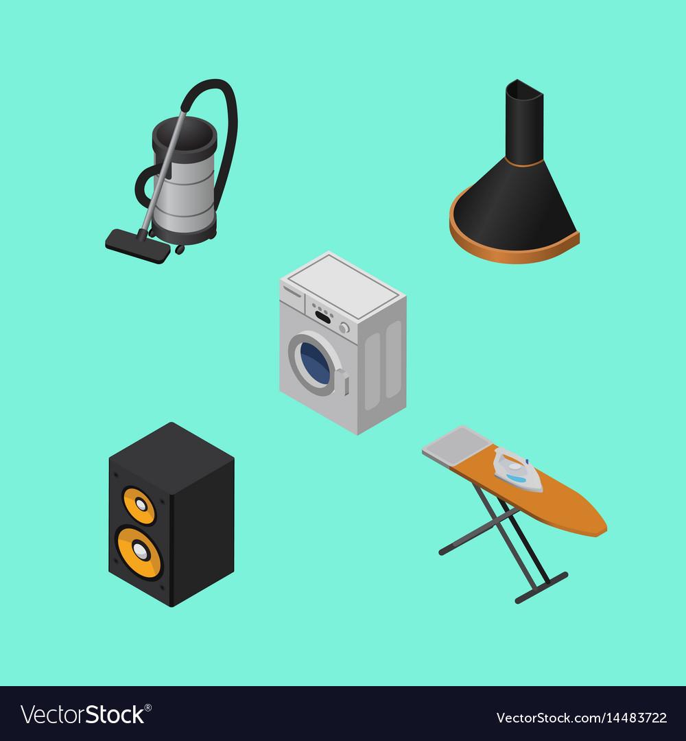 isometric technology set of vac cloth iron music vector image
