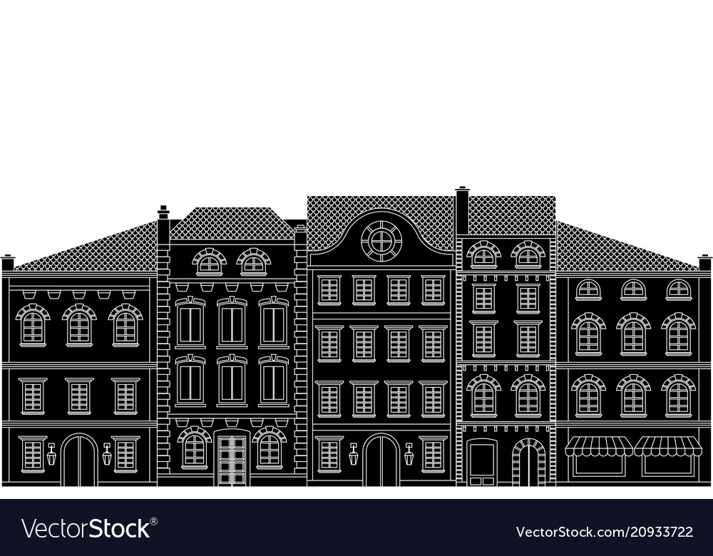 Old european houses in a row flat black drawing