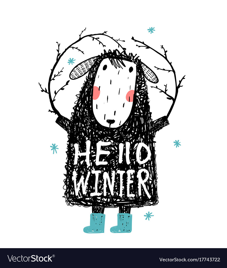quirky winter sheep in warm clothes hello winter vector image
