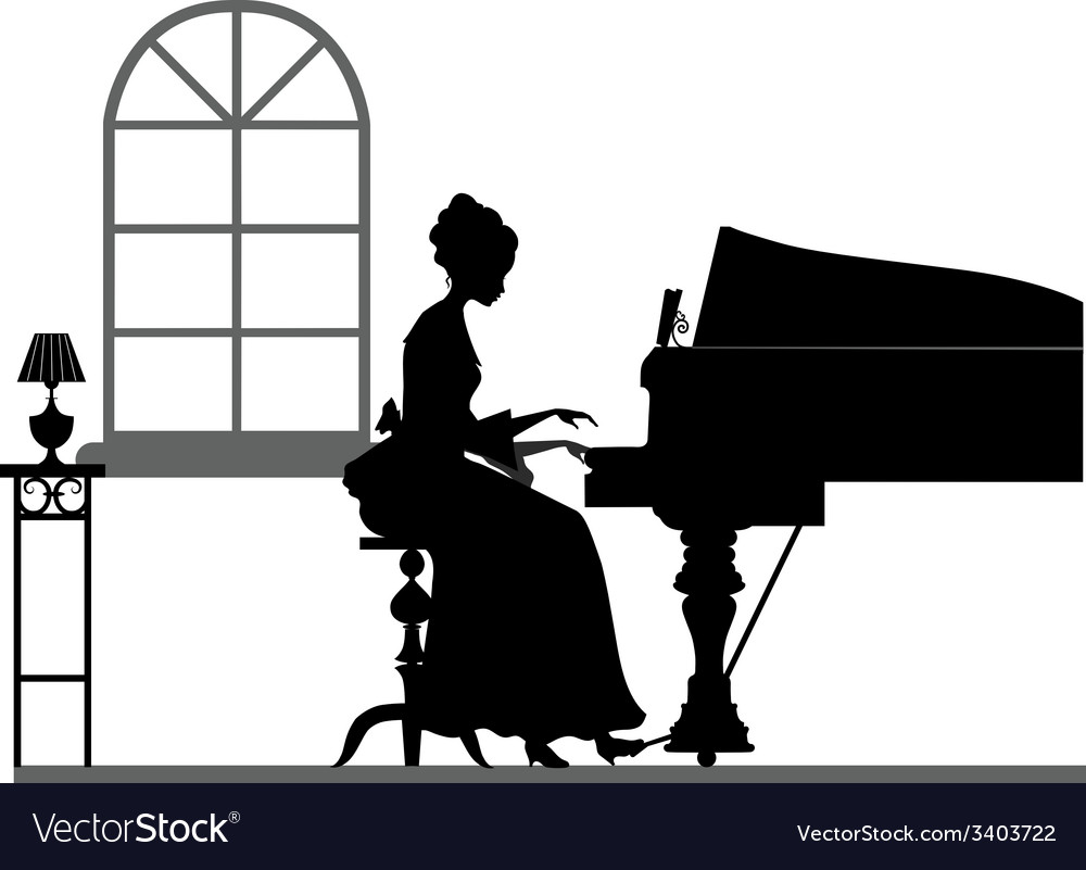Silhouette playing piano woman