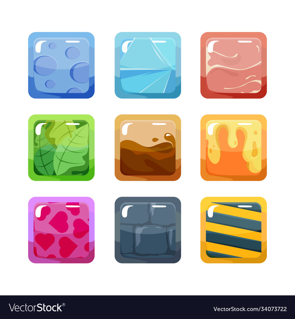 Textural game buttons set colored design square