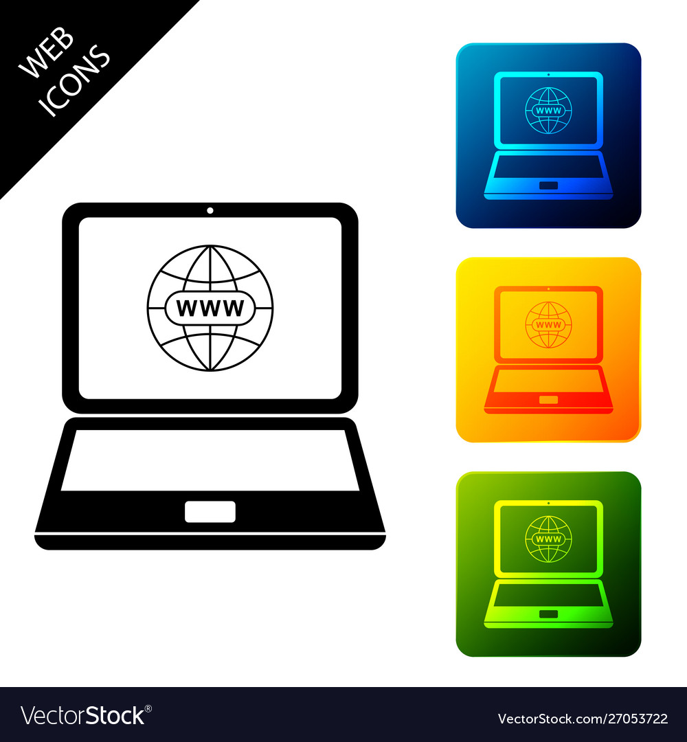 Website on laptop screen icon isolated globe on
