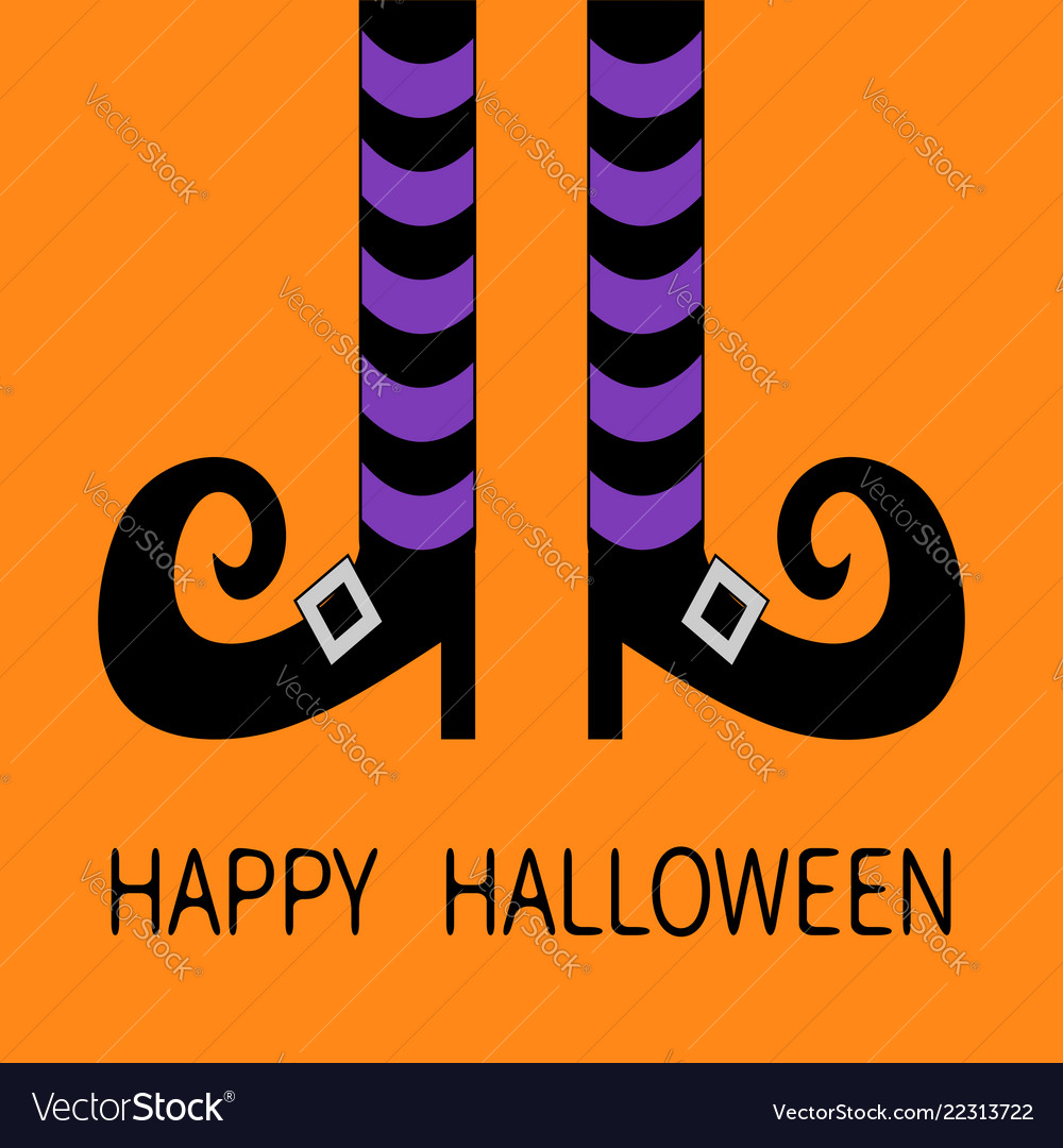 Witch legs with violet striped socks and shoes