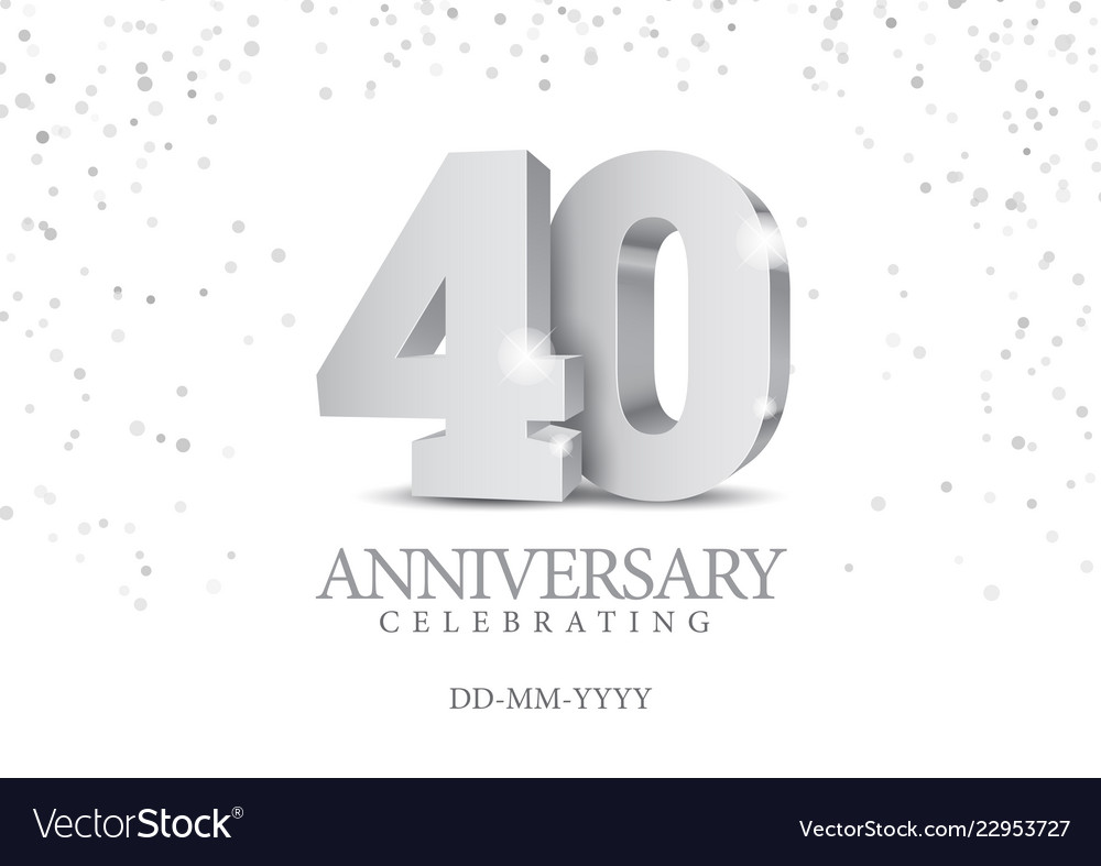 Anniversary 40 silver 3d numbers