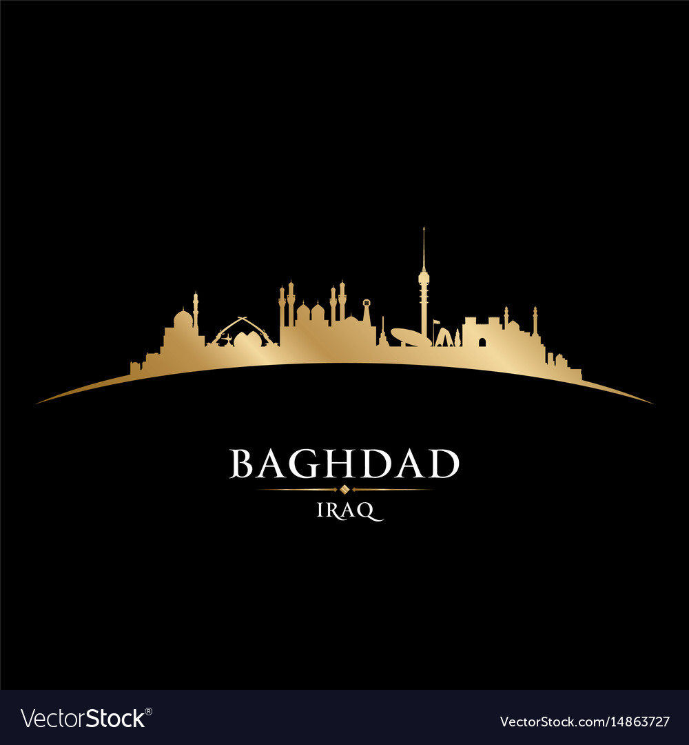 Baghdad iraq city skyline silhouette black