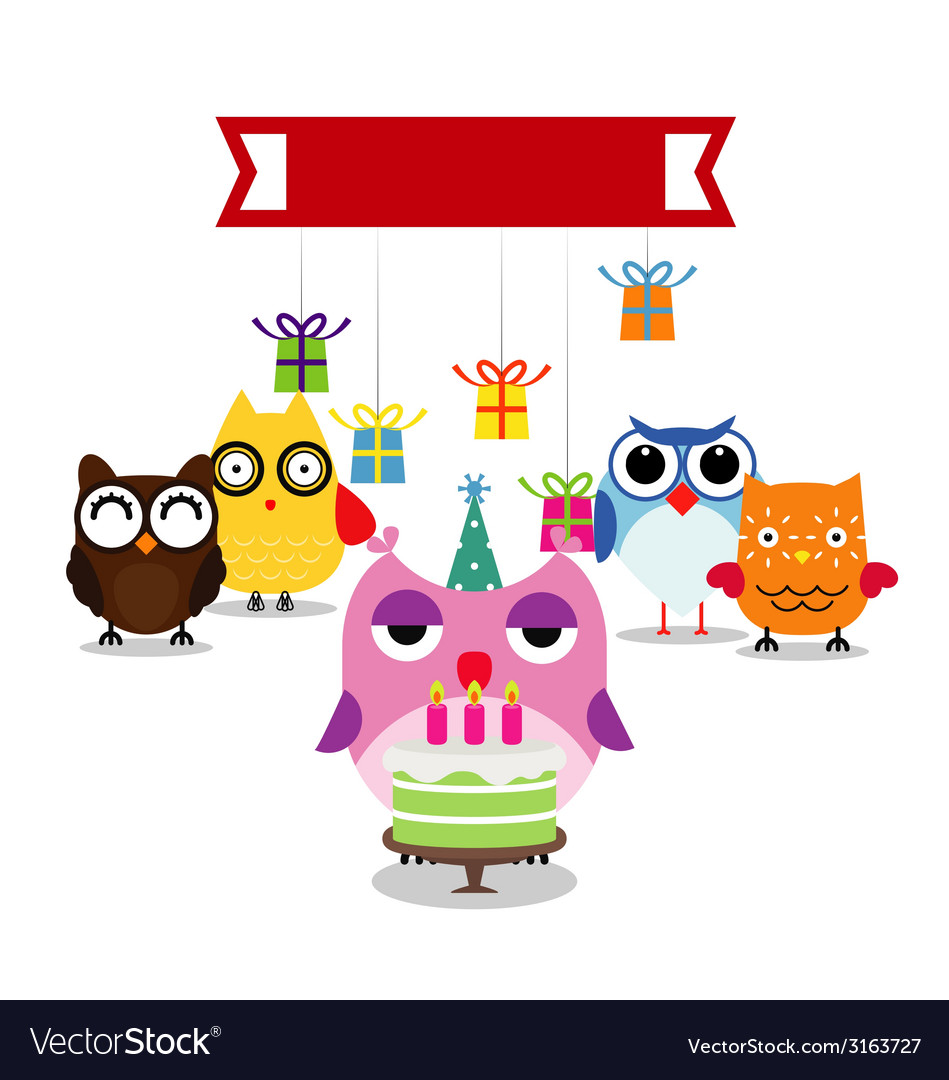 Birthday party card with funny birds