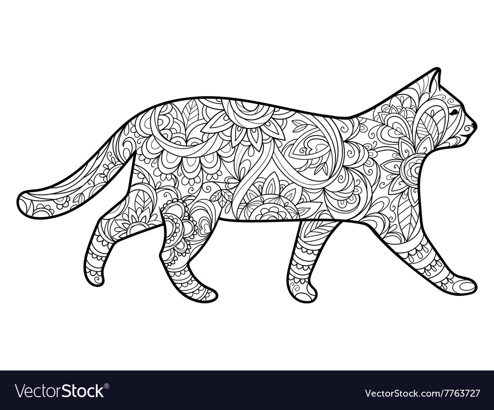 Cat Coloring Book For Adults Royalty Free Vector Image