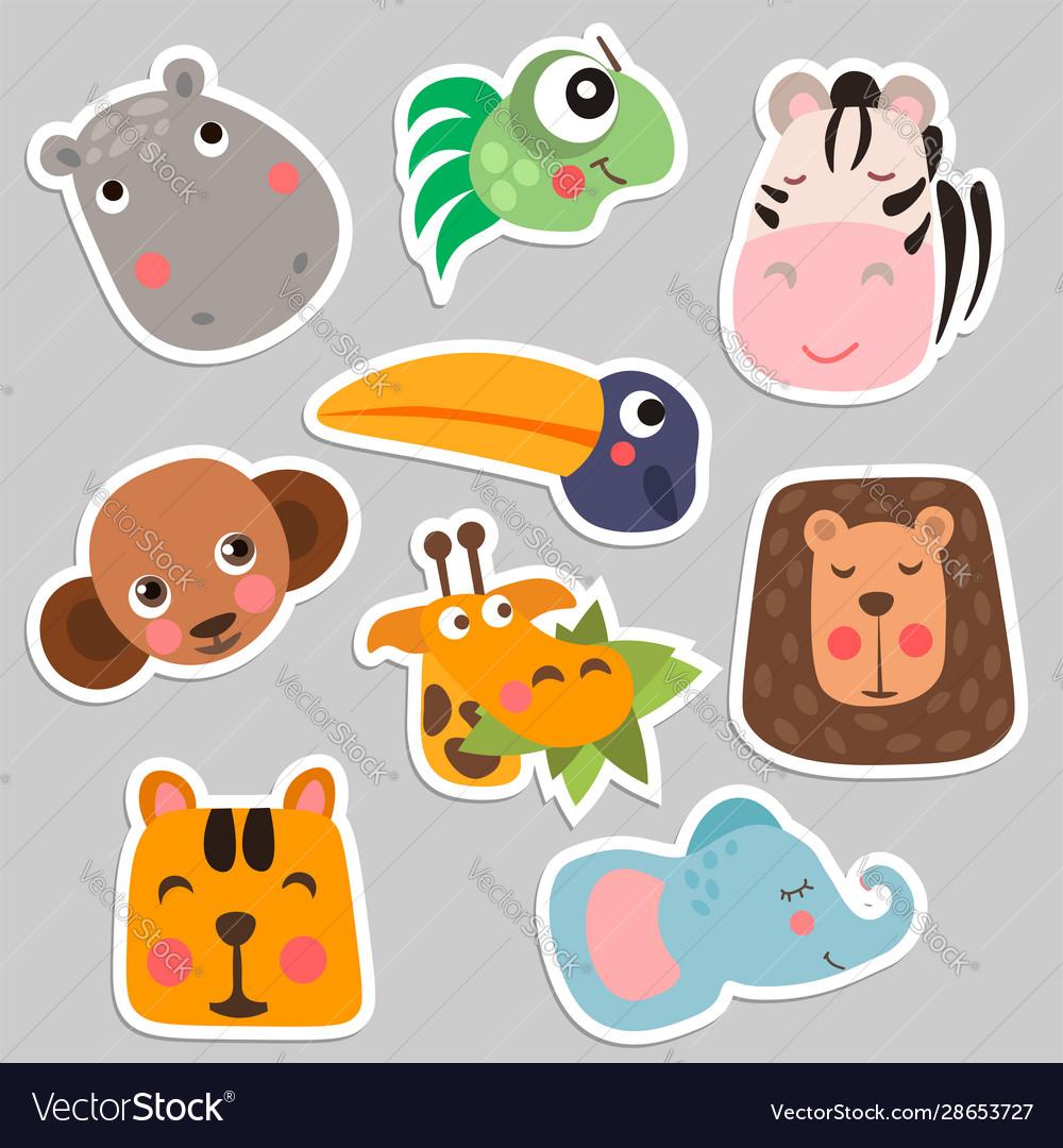 Cute safari animal faces in flat style isolated