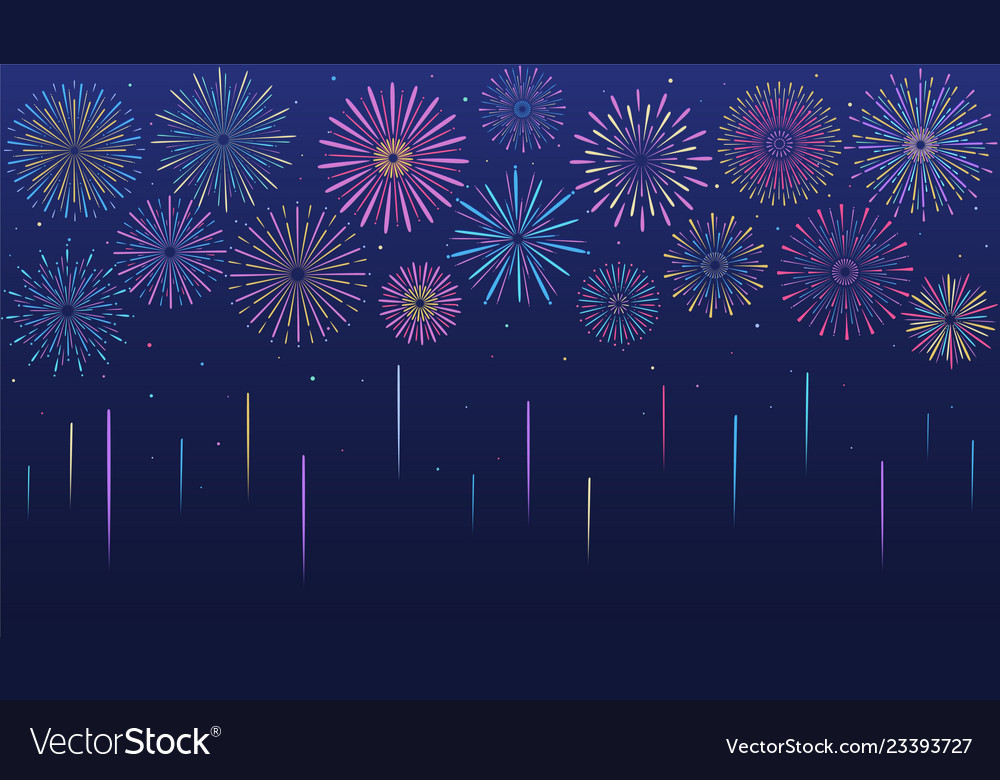 Festive multicolored fireworks in various forms