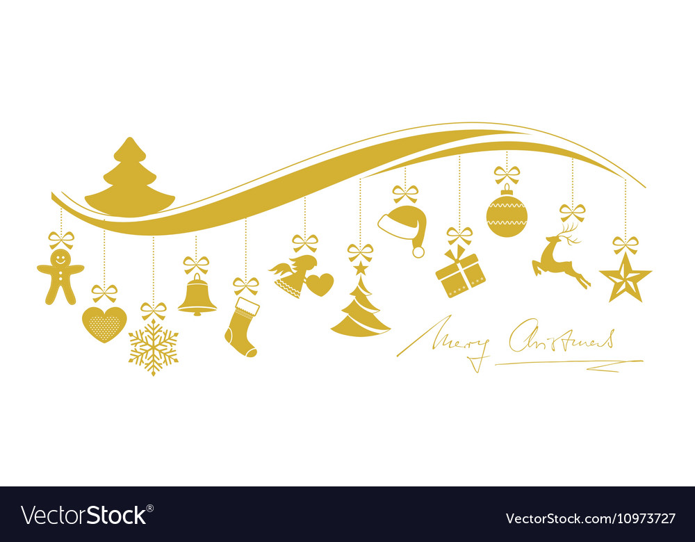 gold christmas wave border with hanging royalty free vector