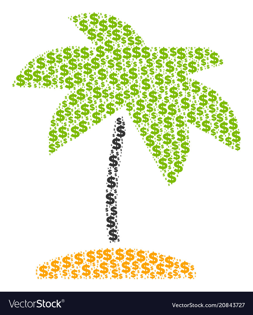 Island tropic palm composition of dollar and dots