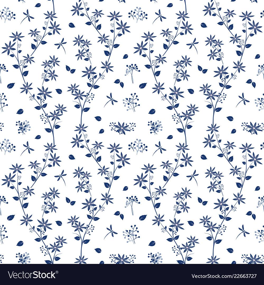 Monotone on blue shade flowers garden pattern