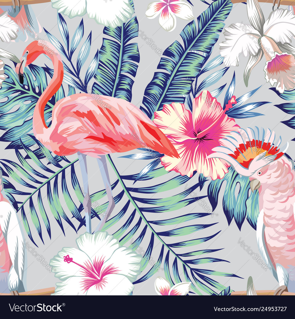 Orchid hibiscus flamingo parrot pattern light vector