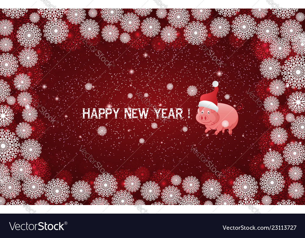 Red new year background with white snowflakes and