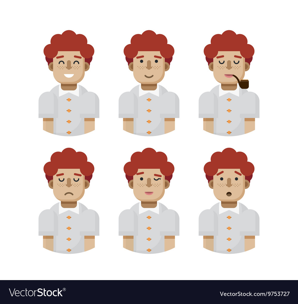 Set male avatars avatar with wide