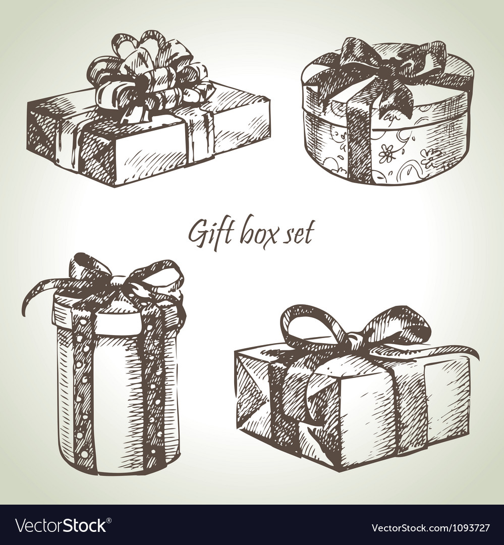Set of gift boxes hand drawn