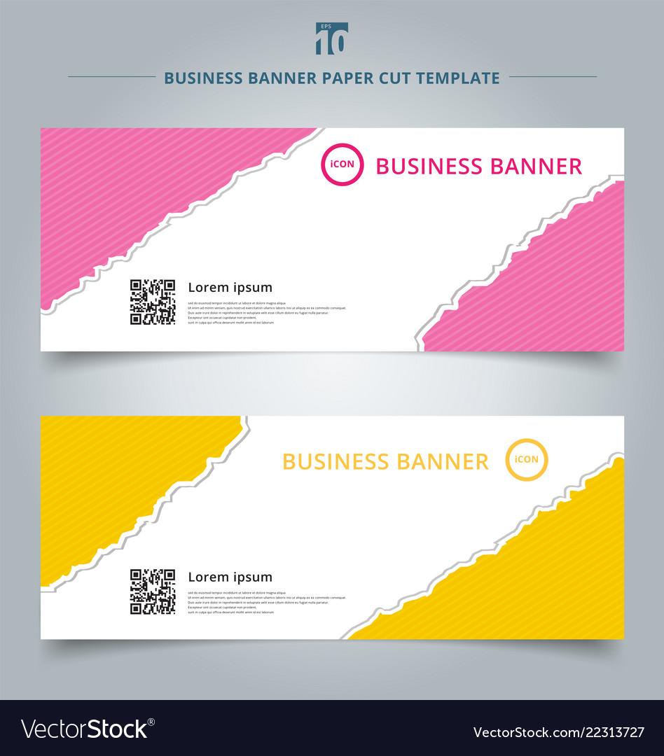 Set template paper rip web banner pink and