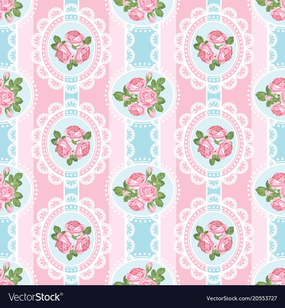 Shabby Chic Rose Seamless Pattern On Pink Vector Image