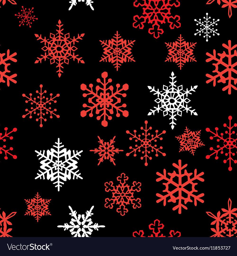 Snowflakes pattern black red