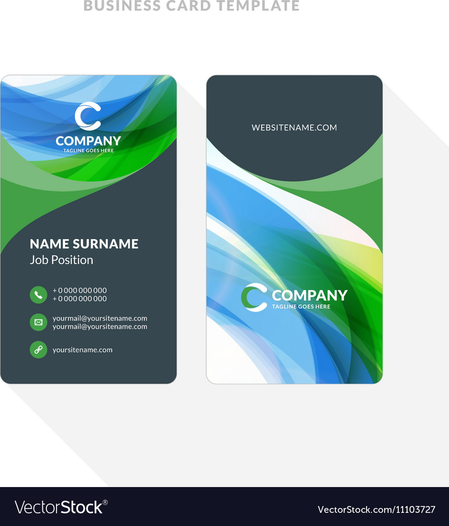 Vertical double sided business card template with vector image accmission